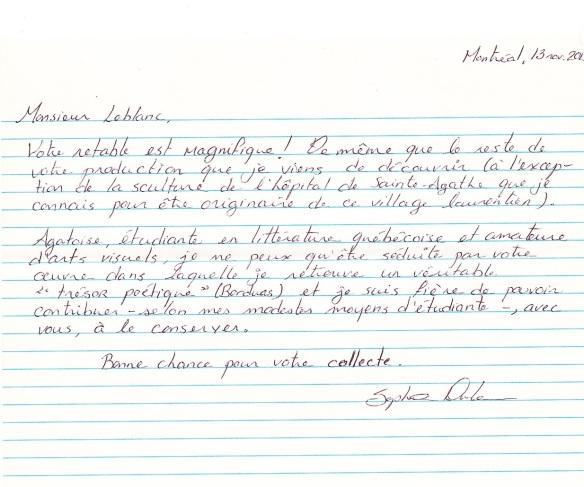 Lettre pour Pierre Leblanc