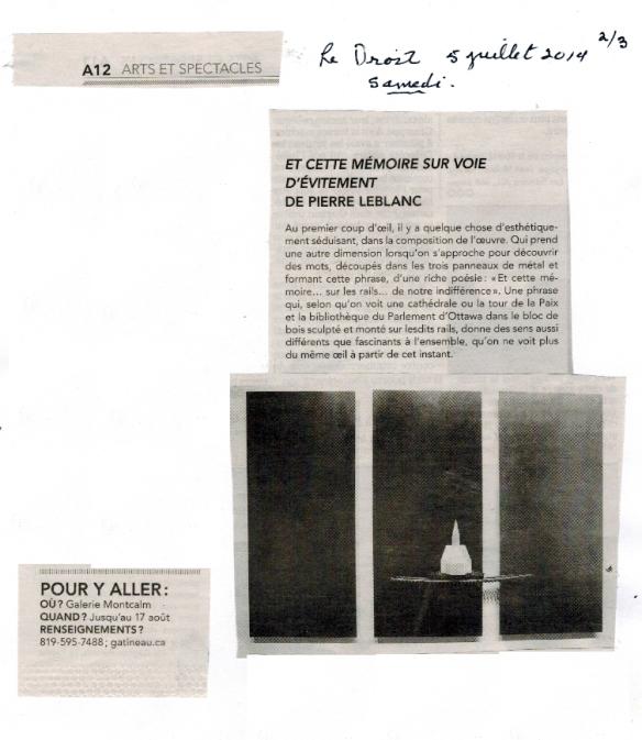 Article sur l'oeuvre du sculpteur Pierre Leblanc